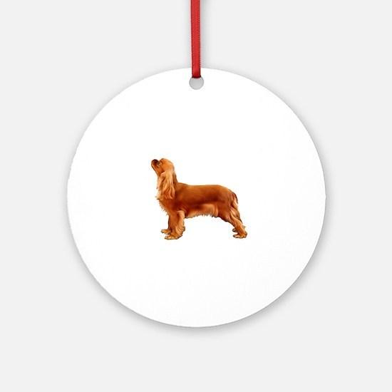 Ruby Cavalier King Charles Spaniel Round Ornament