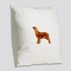 Ruby Cavalier King Charles Spa Burlap Throw Pillow