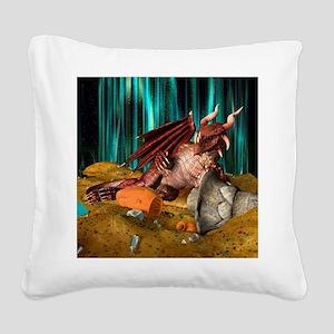 Dragon Treasure Square Canvas Pillow