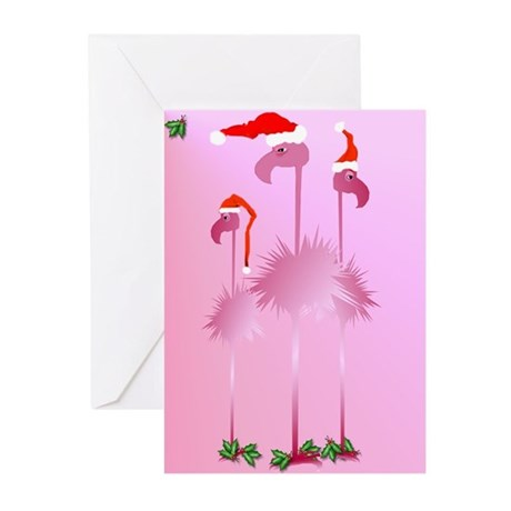 Three Pink Christmas Flamingo Greeting Cards (Pk o