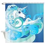 Blue Unicorn Fantasy Shower Curtain