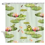 Watercolor Lily Frog Pond Shower Curtain