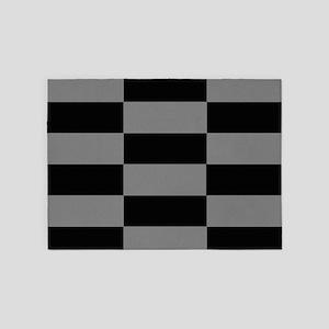 Modern Grey and Black Blocks 5'x7'Area Rug