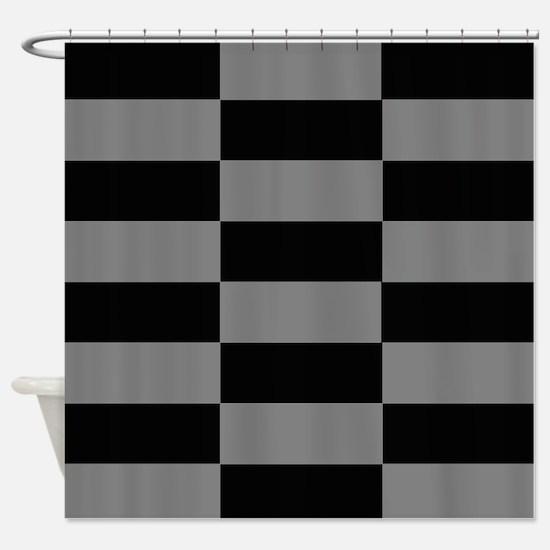 Modern Grey and Black Blocks Shower Curtain