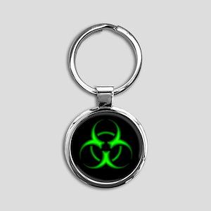 Neon Green Biohazard Symbol Keychains