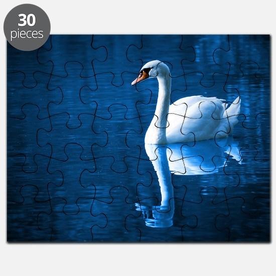 Beautiful Swan Blue Puzzle