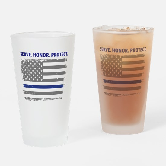 Cool Thin blue line Drinking Glass