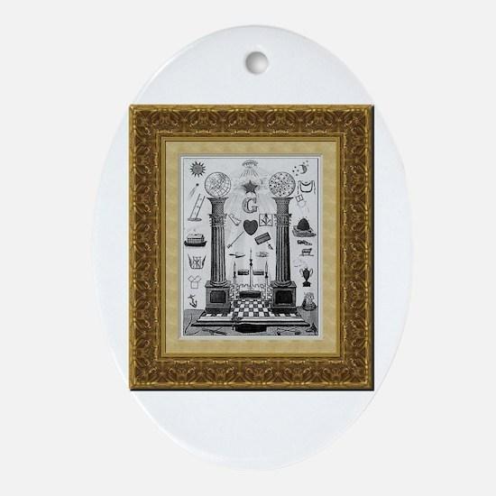 Masonic Pillars Oval Ornament