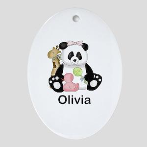 olivia's little panda Oval Ornament