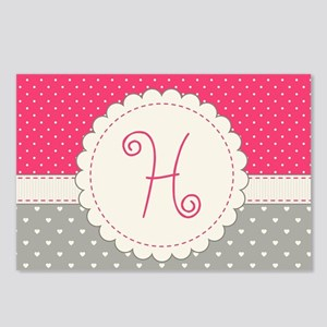 Cute Monogram Letter H Postcards (Package of 8)