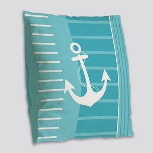 Nautical Summer Design Burlap Throw Pillow