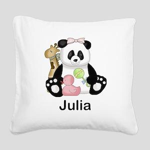 julia's little panda Square Canvas Pillow