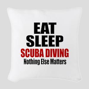 Eat Sleep Scuba Diving Woven Throw Pillow