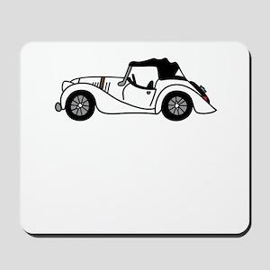 White Morgan Car Cartoon Mousepad