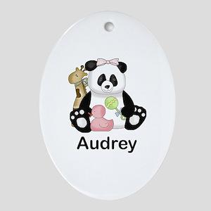 audrey's little panda Oval Ornament