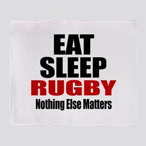 Eat Sleep Rugby Throw Blanket