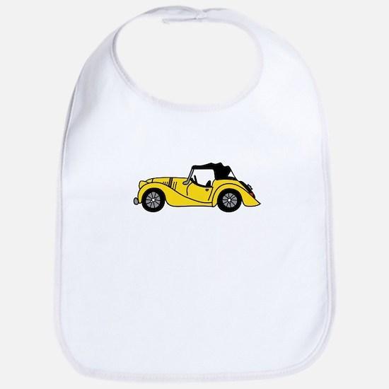 Yellow Morgan Car Cartoon Bib
