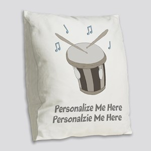 Personalized Drum Burlap Throw Pillow