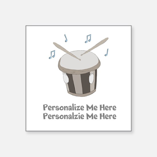 "Personalized Drum Square Sticker 3"" x 3"""