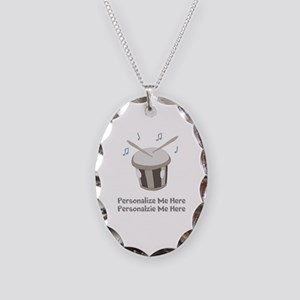 Personalized Drum Necklace Oval Charm