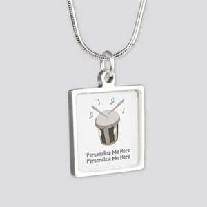 Personalized Drum Silver Square Necklace