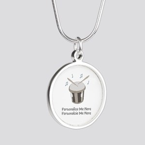 Personalized Drum Silver Round Necklace