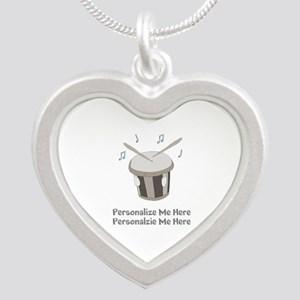 Personalized Drum Silver Heart Necklace
