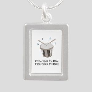 Personalized Drum Silver Portrait Necklace