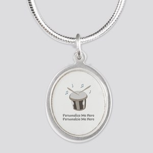 Personalized Drum Silver Oval Necklace