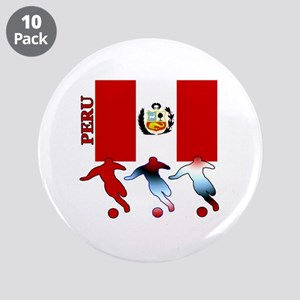 "Peru Soccer 3.5"" Button (10 pack)"