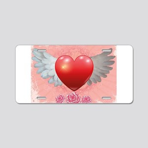 Winged Heart Aluminum License Plate
