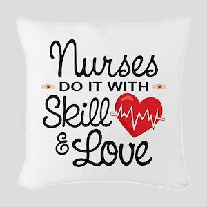 Funny Nurse Woven Throw Pillow