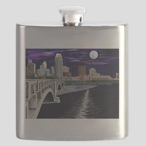 Moon Over Minneapolis Flask