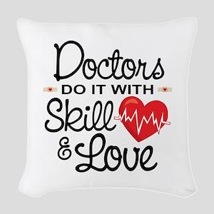 Funny Doctor Woven Throw Pillow