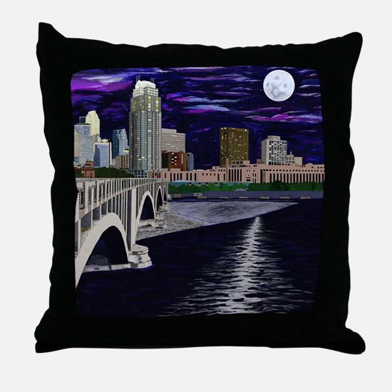 Moon Over Minneapolis Throw Pillow