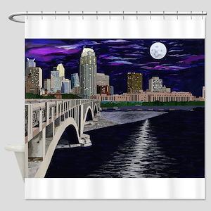 Moon Over Minneapolis Shower Curtain