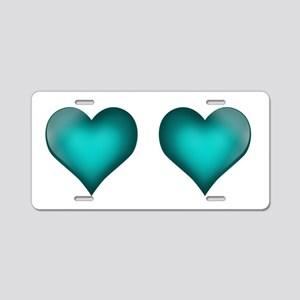 Emerald Hearts Aluminum License Plate