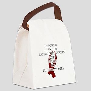 Cancer Bully (Burgundy Ribbon) Canvas Lunch Bag
