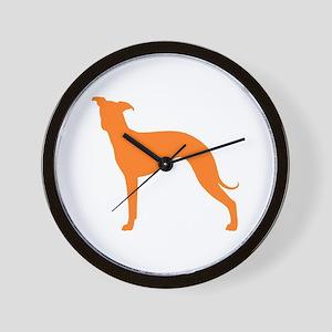 Greyhound Two Orange 1C Wall Clock