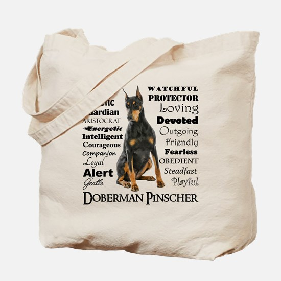 Doberman Traits Tote Bag