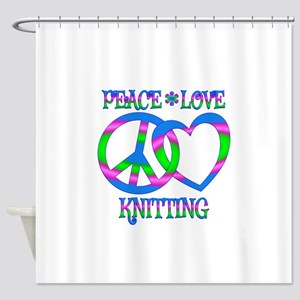 Peace Love Knitting Shower Curtain