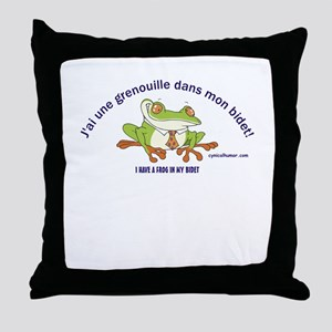 Frog in bidet Throw Pillow