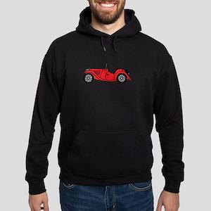 Red MGTC Car Cartoon Hoodie (dark)