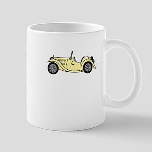 Cream MGTC Car Cartoon Mug