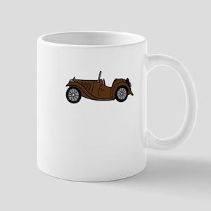 Brown MGTC Car Cartoon Mug