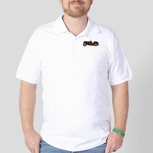 Brown MGTC Car Cartoon Golf Shirt