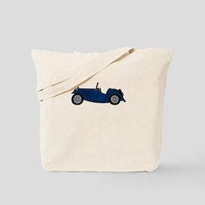 Navy Blue MGTC Car Cartoon Tote Bag