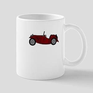 Burgundy Maroon MGTC Car Cartoon Mug