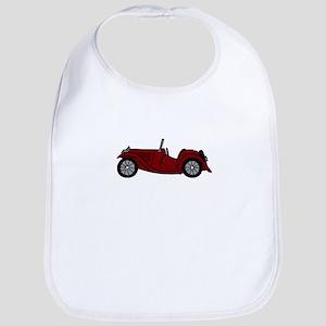 Burgundy Maroon MGTC Car Cartoon Bib