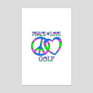 Peace Love Golf Mini Poster Print